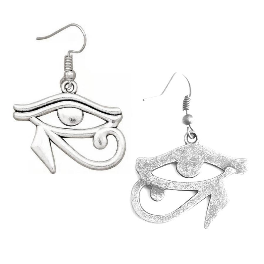 Antiqued Silver Eye Of Horus Egyptian Drop Earrings