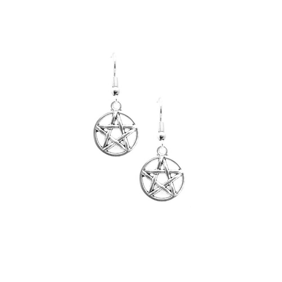 Antiqued Silver Pentacle Drop Earrings