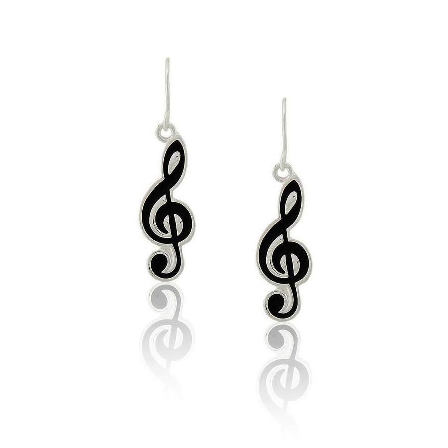 Black Enameled Treble Clef Drop Earrings