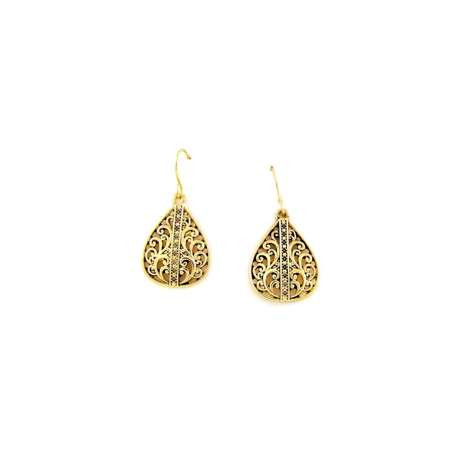Antiqued Golden Filigree Teardrop Earrings