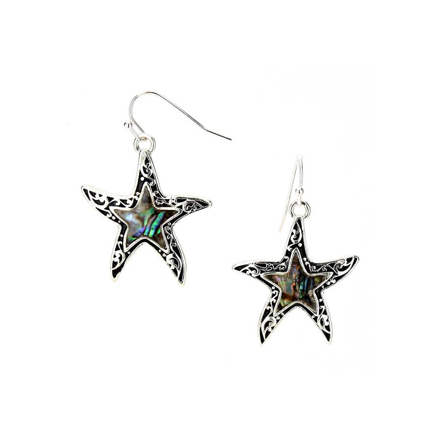 Silver Filigree Abalone Starfish Drop Earrings