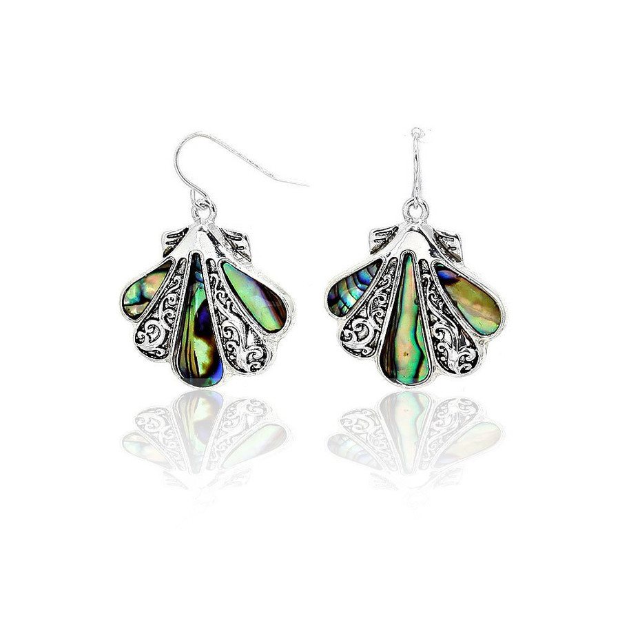 Silver Filigree and Abalone Shell Drop Earrings