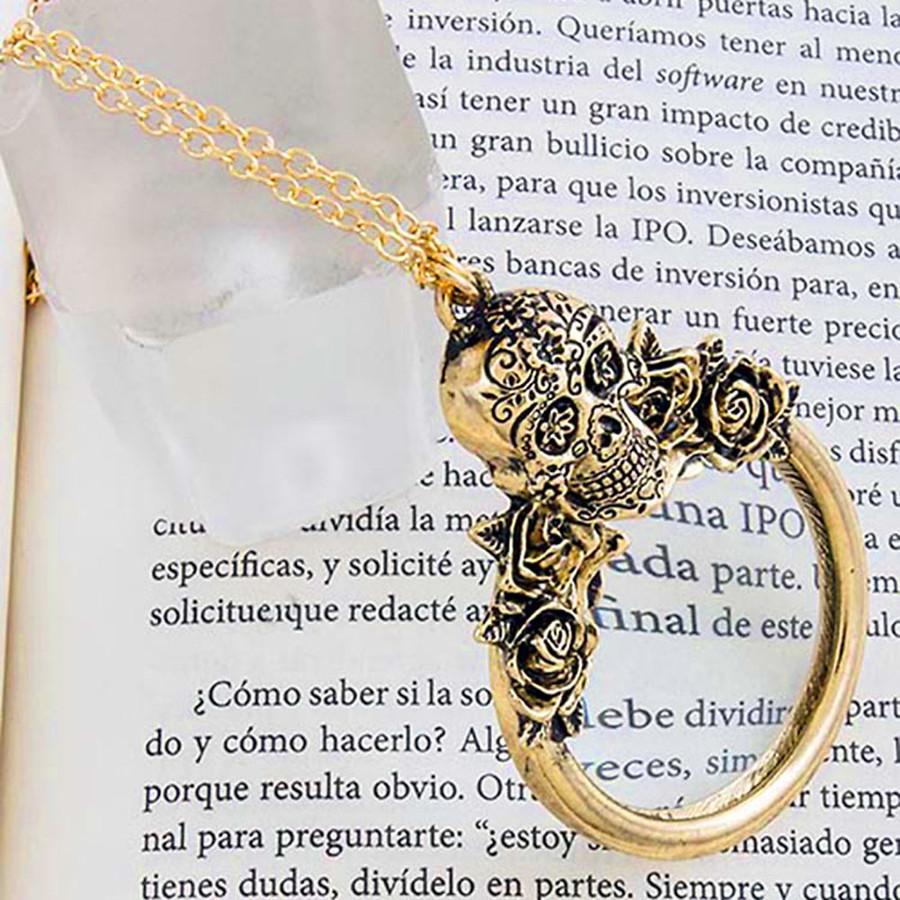 Long Golden Sugar Skull Magnifying Glass Necklace