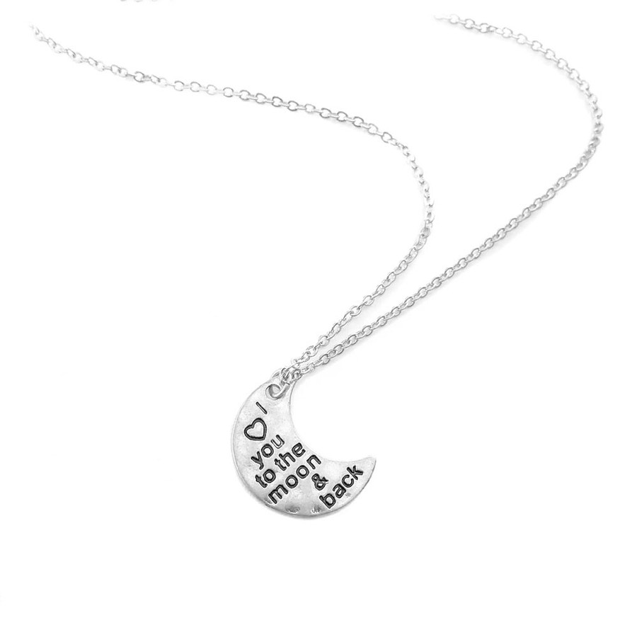 Silver 'I ™¡ You To The Moon and Back' Necklace
