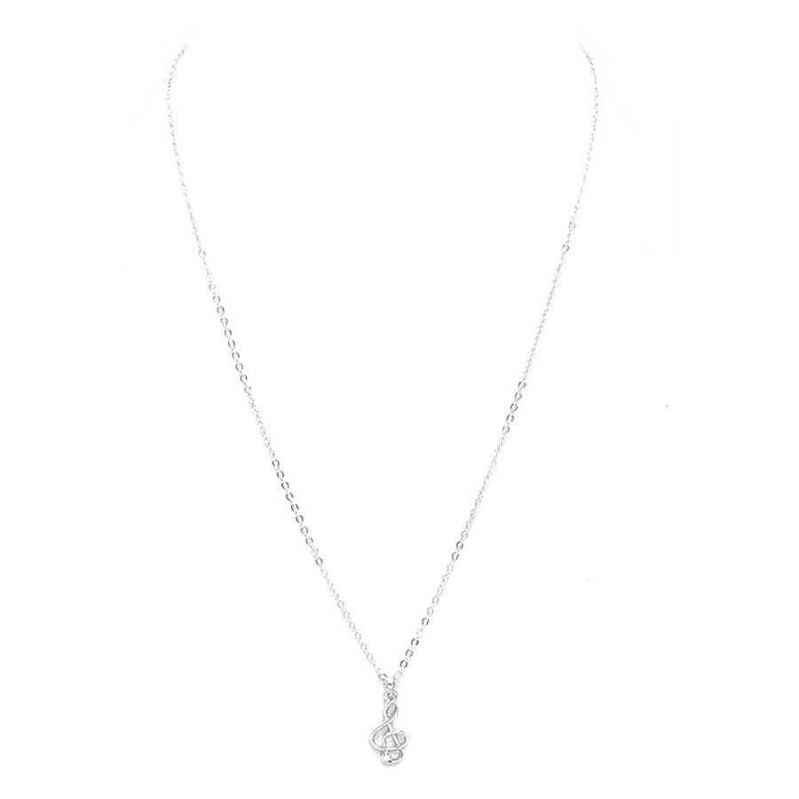 Mini Silver Treble Clef Necklace