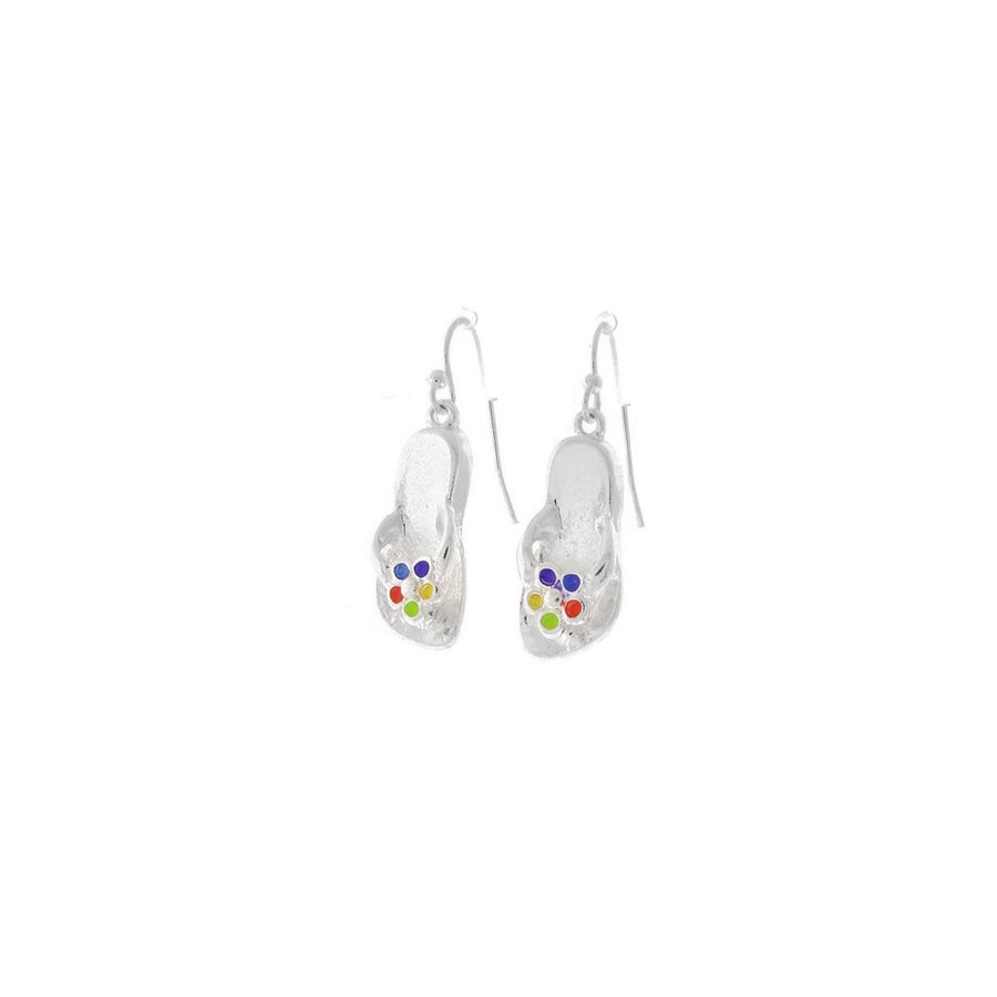 Silver Flip-Flop Drop Earrings with Enameled Daisies