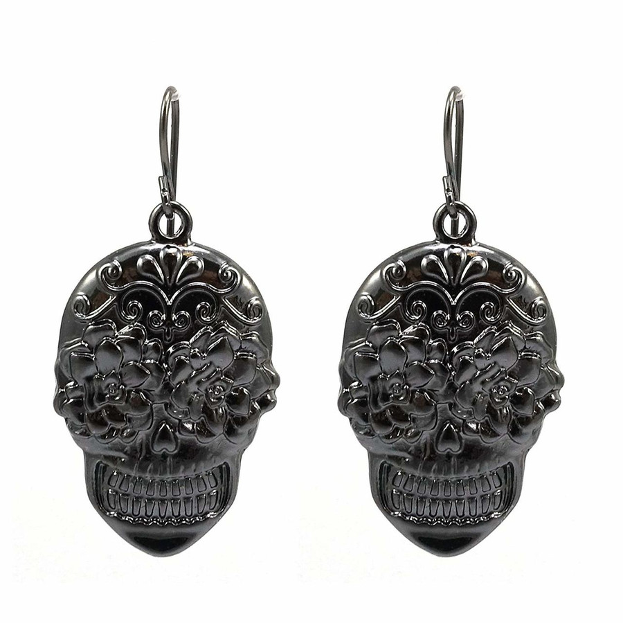 Dark Gunmetal Sugar Skull Drop Earrings