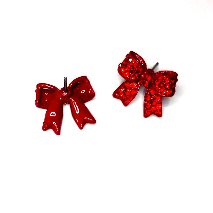 Red Bejeweled Bow Post Earrings