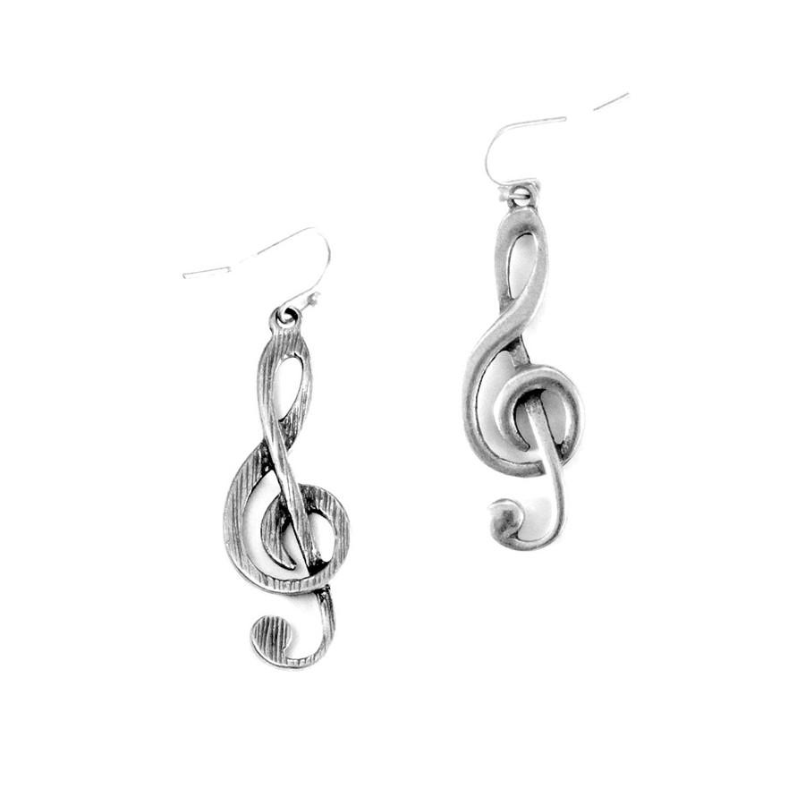 Antiqued Silver Treble Clef Drop Earrings