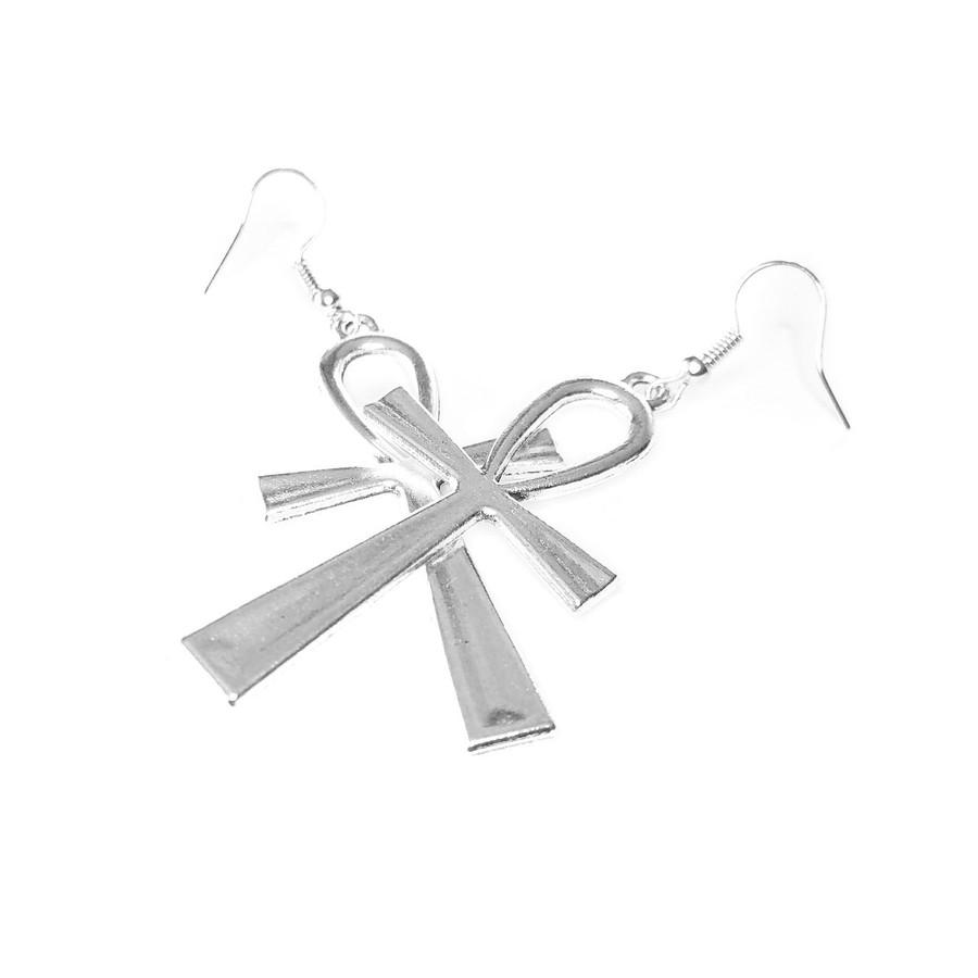 Silver Egyptian Ankh Drop Earrings