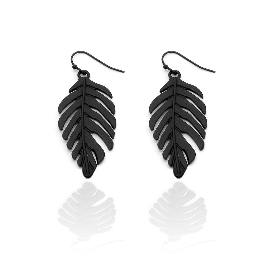 Black Philodendron Leaf Drop Earrings