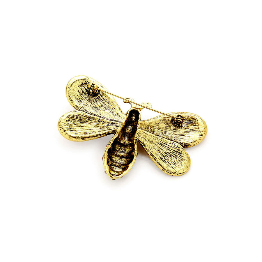 Large Bejeweled and Enameled Antiqued Gold Crystal Bee Pin