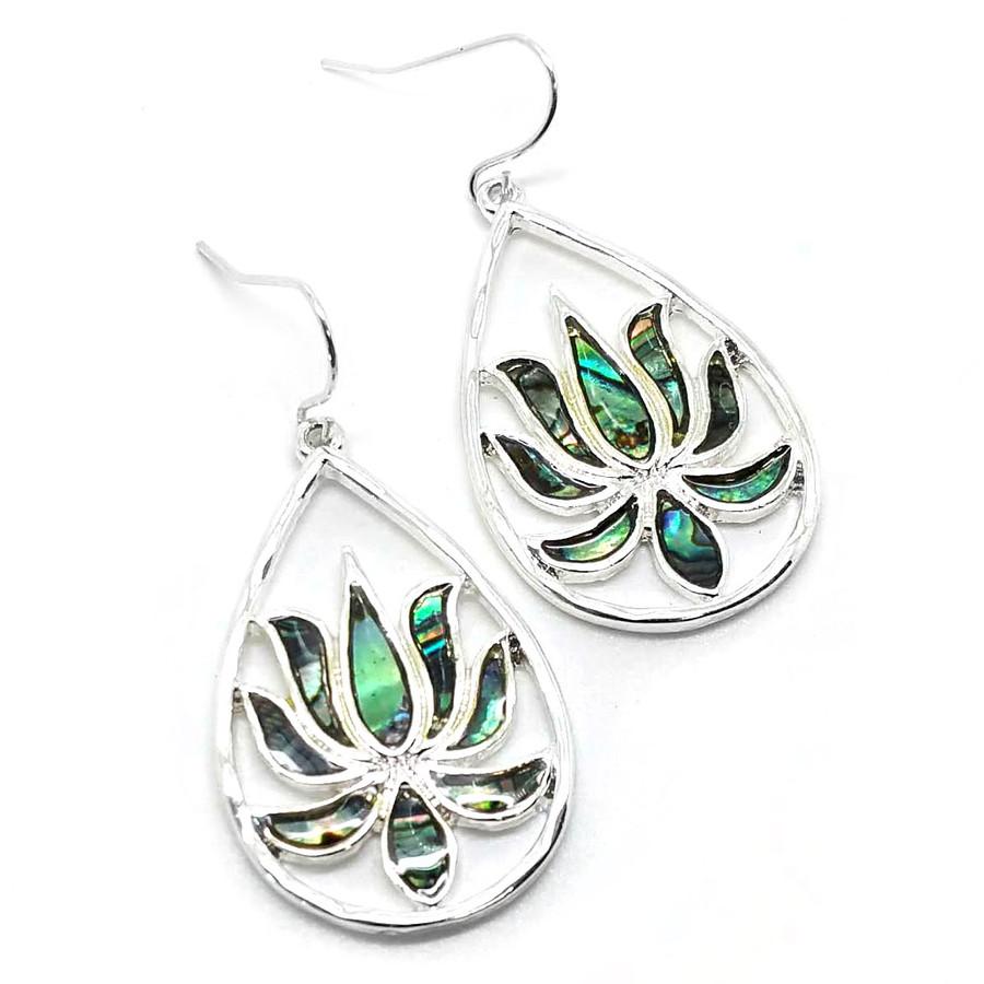 Silver Lotus Teardrop Earrings with Abalone Inlay
