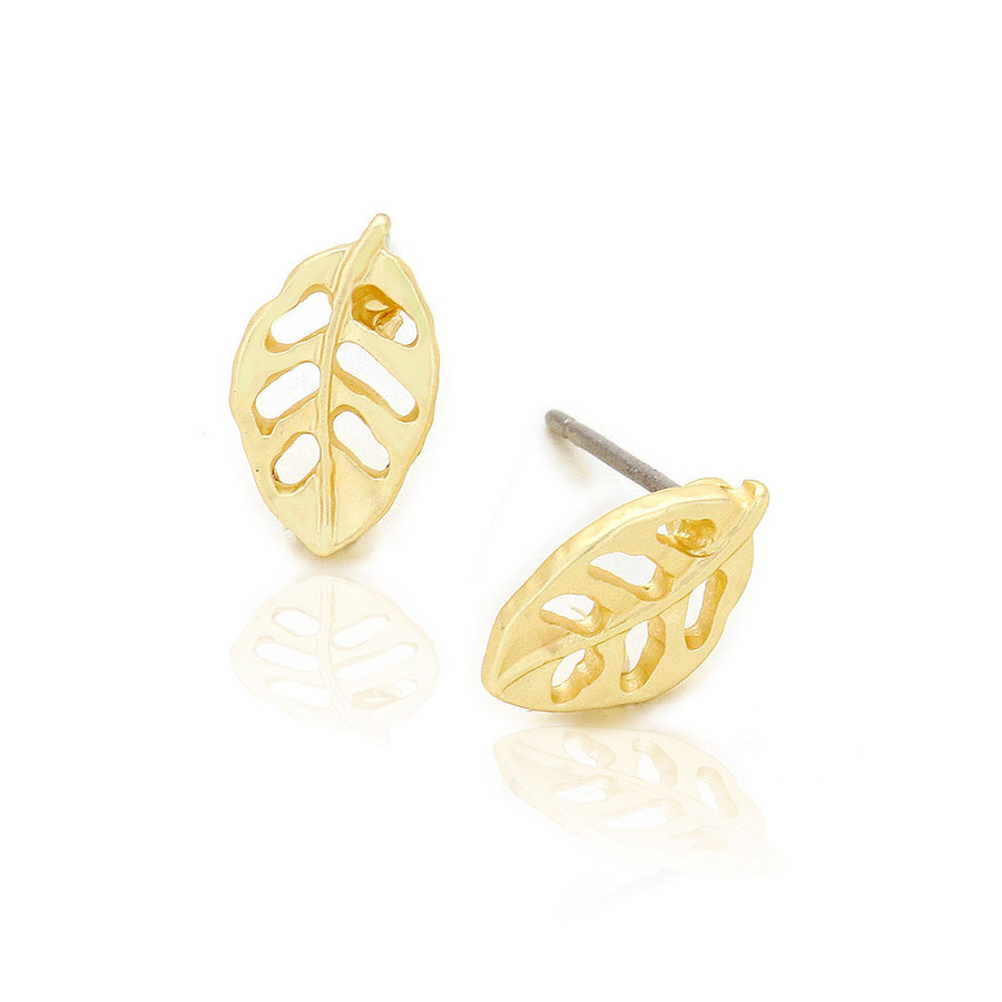 Mini Matte Gold Leaf Outline Post Earrings