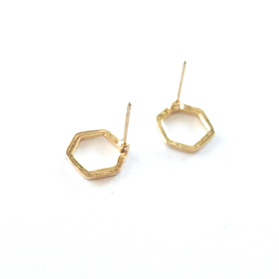Golden Single Honeycomb Post Earrings