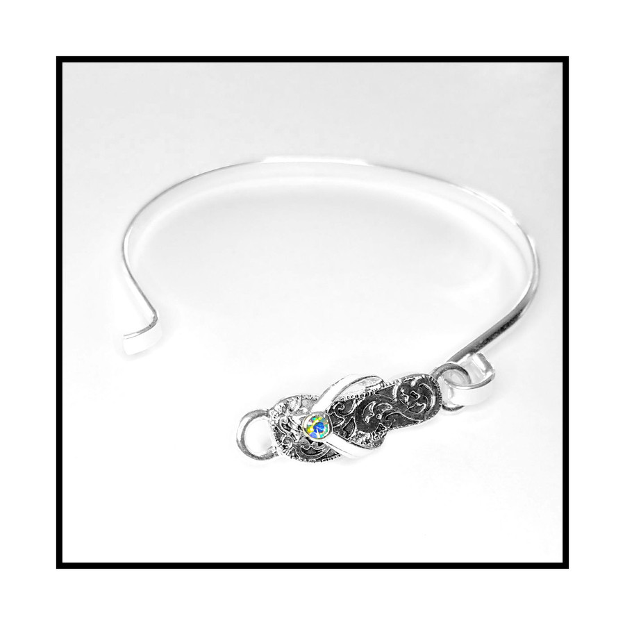 Silver Filigree Flip-Flop Bangle with Aurora Borealis Crystal Detail
