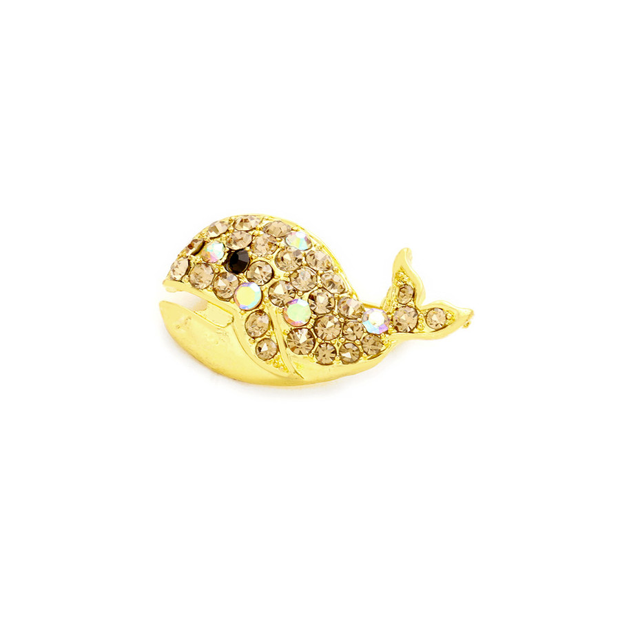 Bejeweled Golden Whale Pin