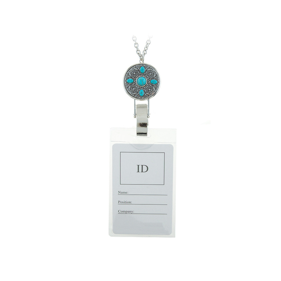 Antiqued Silver Disc and Turquoise Lanyard Chain Necklace (Plus Two Clear Pouch/ID/Badge/Card Holders)