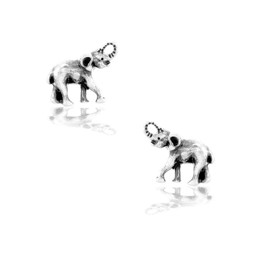 Mini Antiqued Silver Baby Elephant Post Earrings