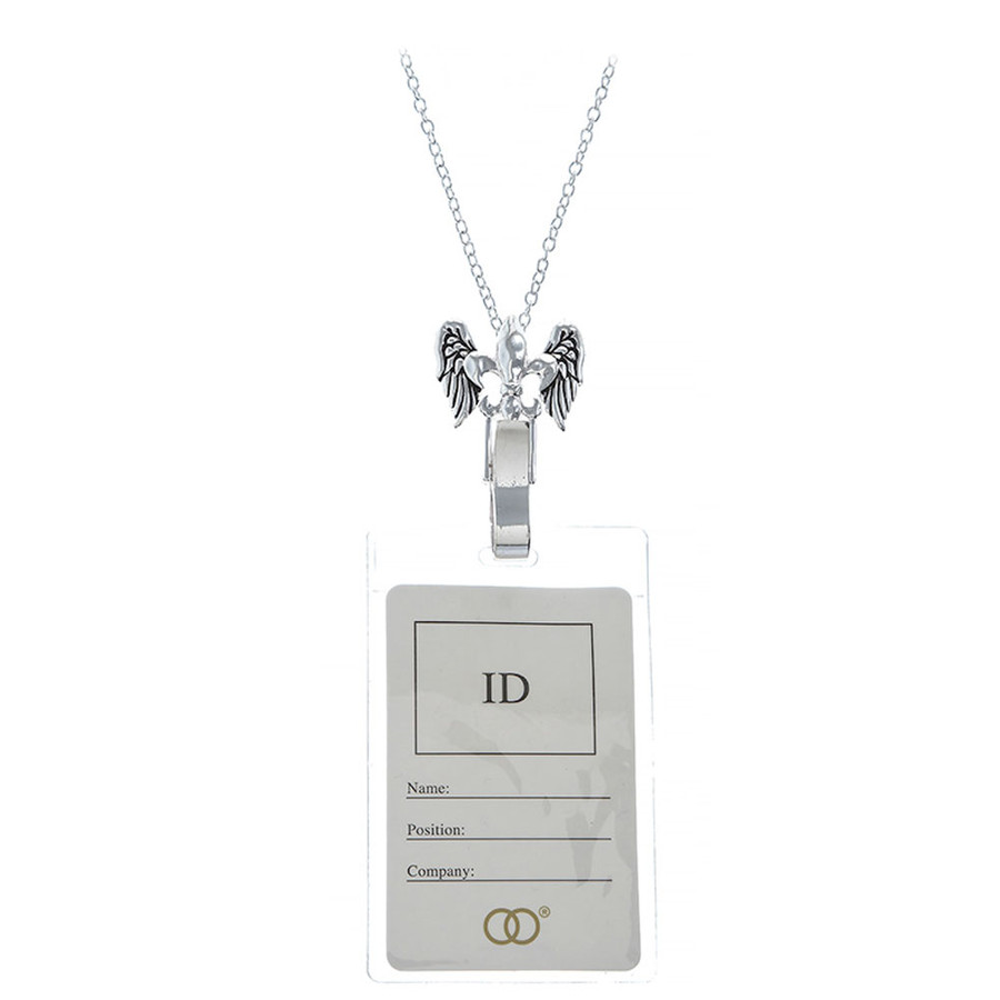 Silver Fleur-De-Lis Lanyard Necklace with Id/Badge/Card Holder