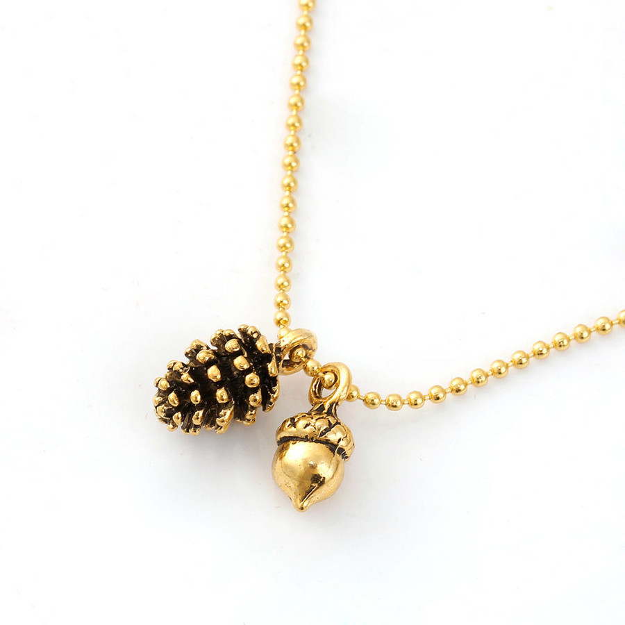 Golden Pine Cone and Acorn Necklace