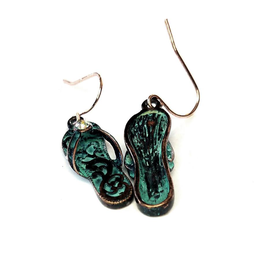 Patina Filigree Flip-Flop Drop Earrings