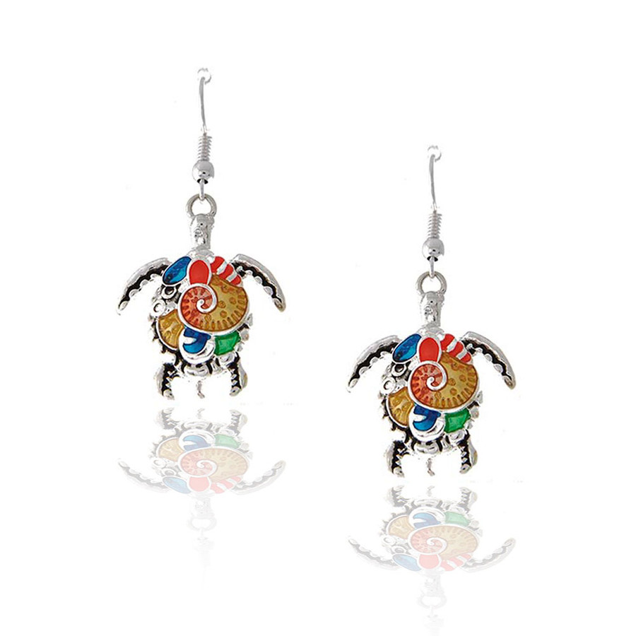 Antiqued Silver Sea Turtle/Honu Drop Earrings with Multi-Color Enamel