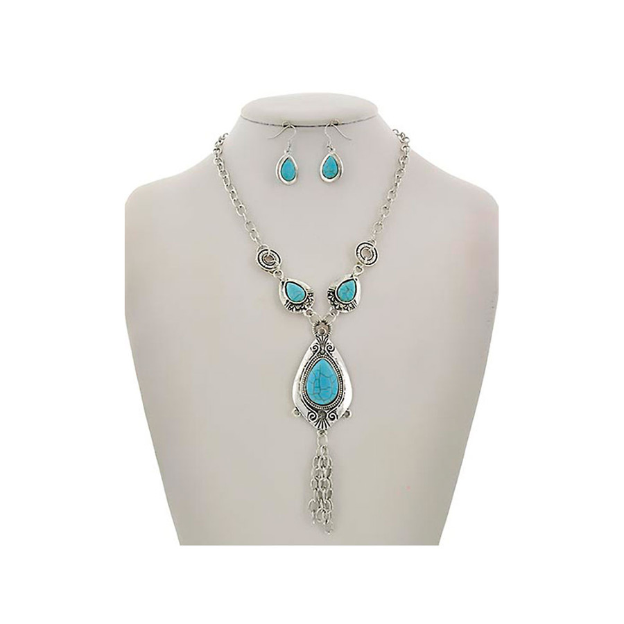 Silver and Turquoise Teardrop and Fringe Necklace and Drop Earring Set