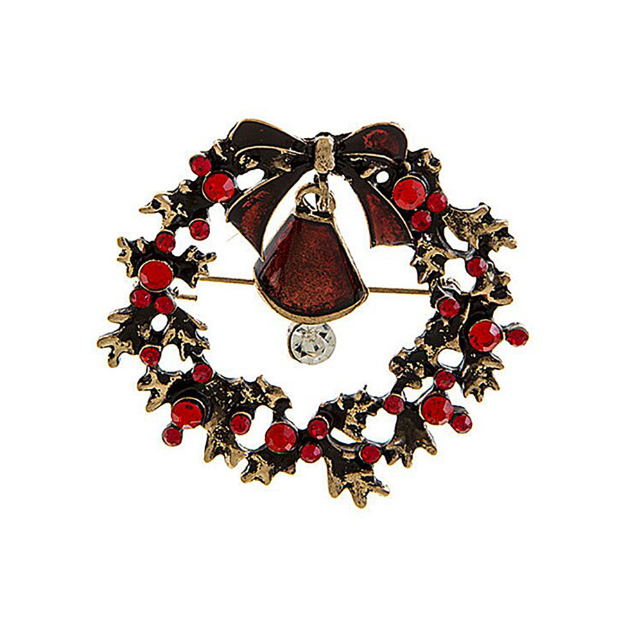 Antiqued Gold and Red Bejeweled Holiday Wreath Pin