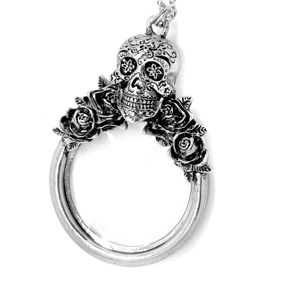 Long Silver Sugar Skull Magnifying Glass Necklace