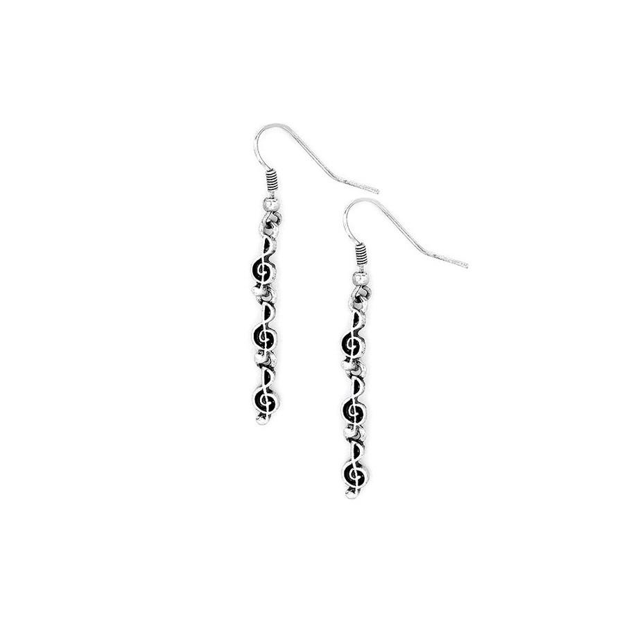 Antiqued Silver Triple Treble Clef Drop Earrings