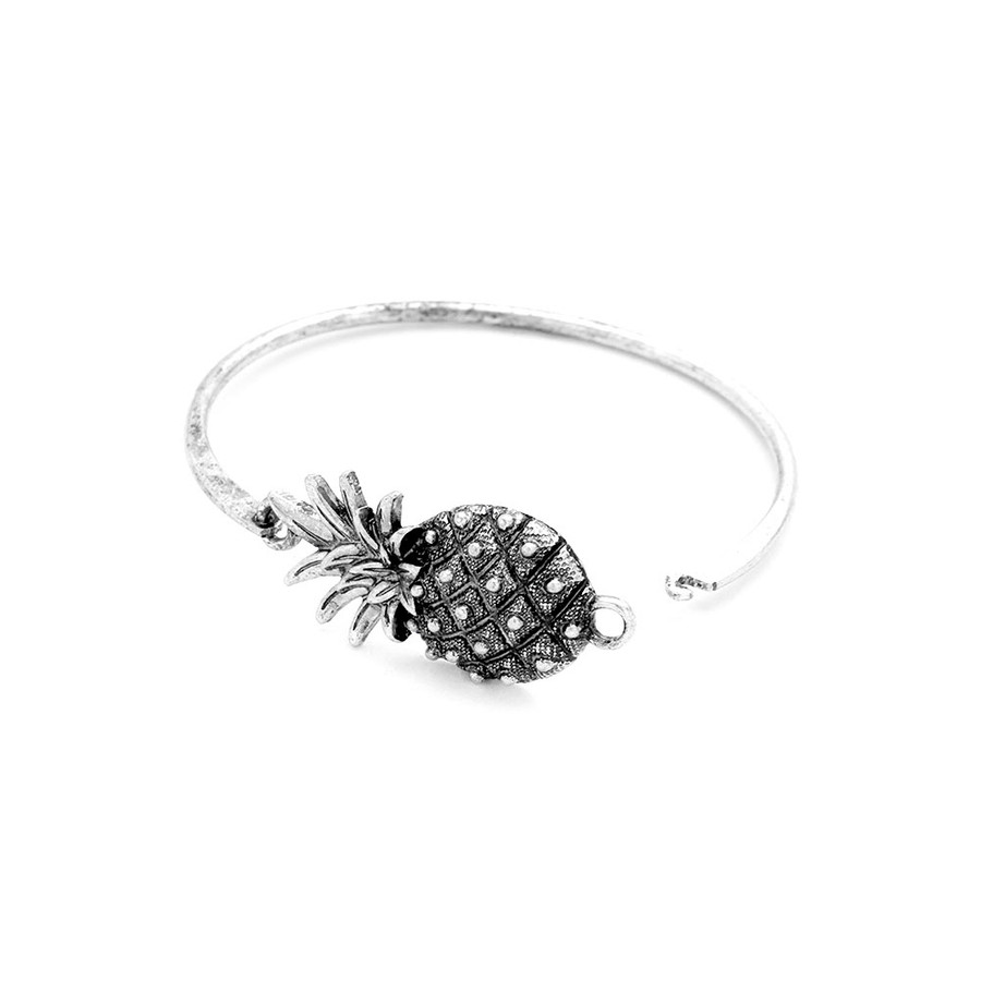 Antiqued Silver Pineapple Hook-Latch Bangle