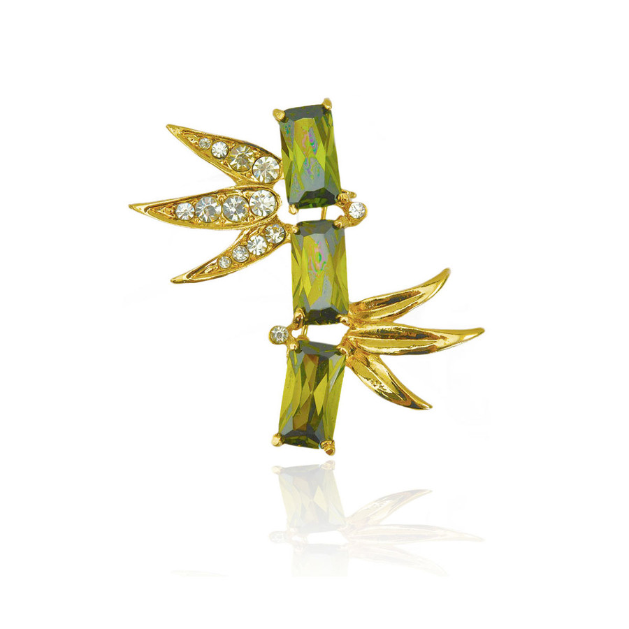 Golden Bamboo Pin with Emerald Cut Green Crystals