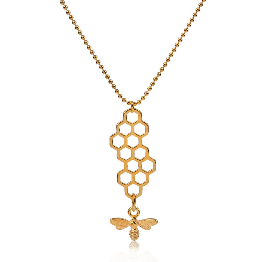 Golden Vertical Honeycomb Necklace with Bee Charm