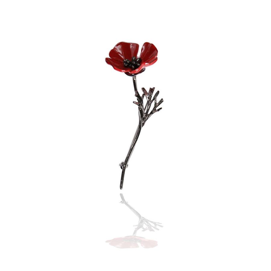 Gunmetal and Red Enamel Poppy Flower Pin