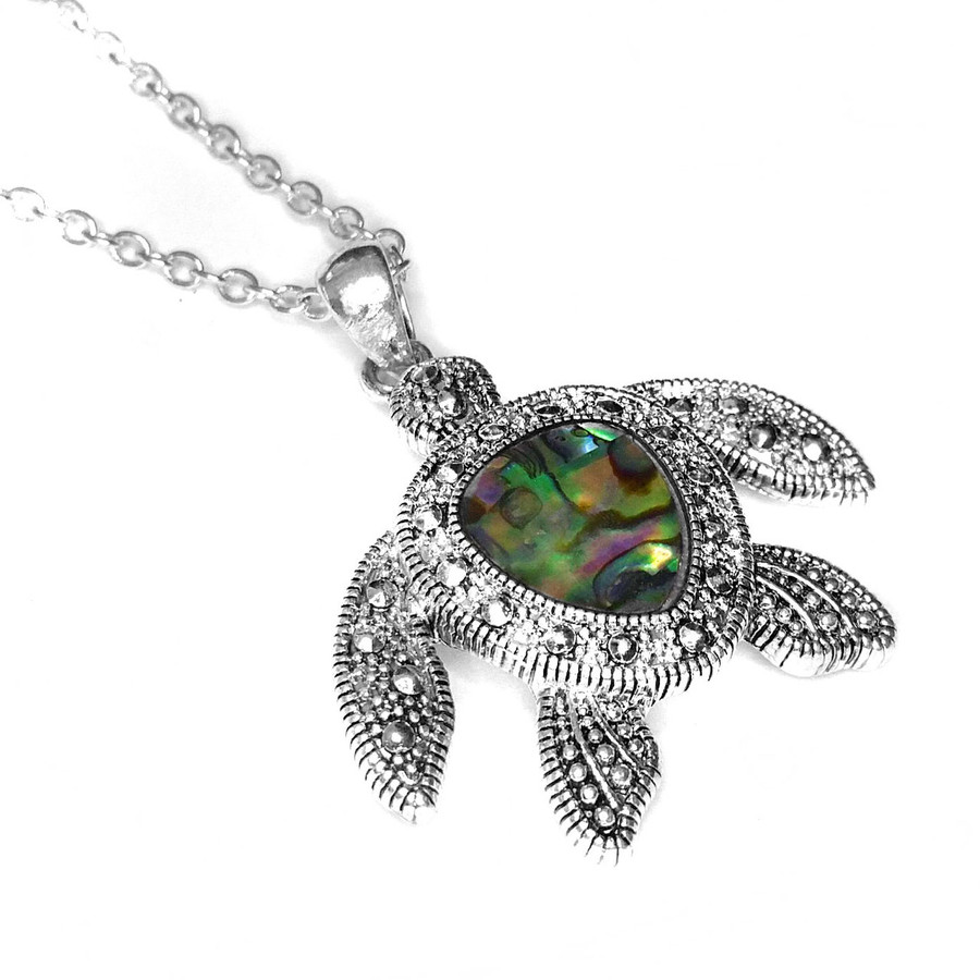 Antiqued Silver Sea Turtle Pendant Necklace and Drop Earring Set with Abalone Inlay