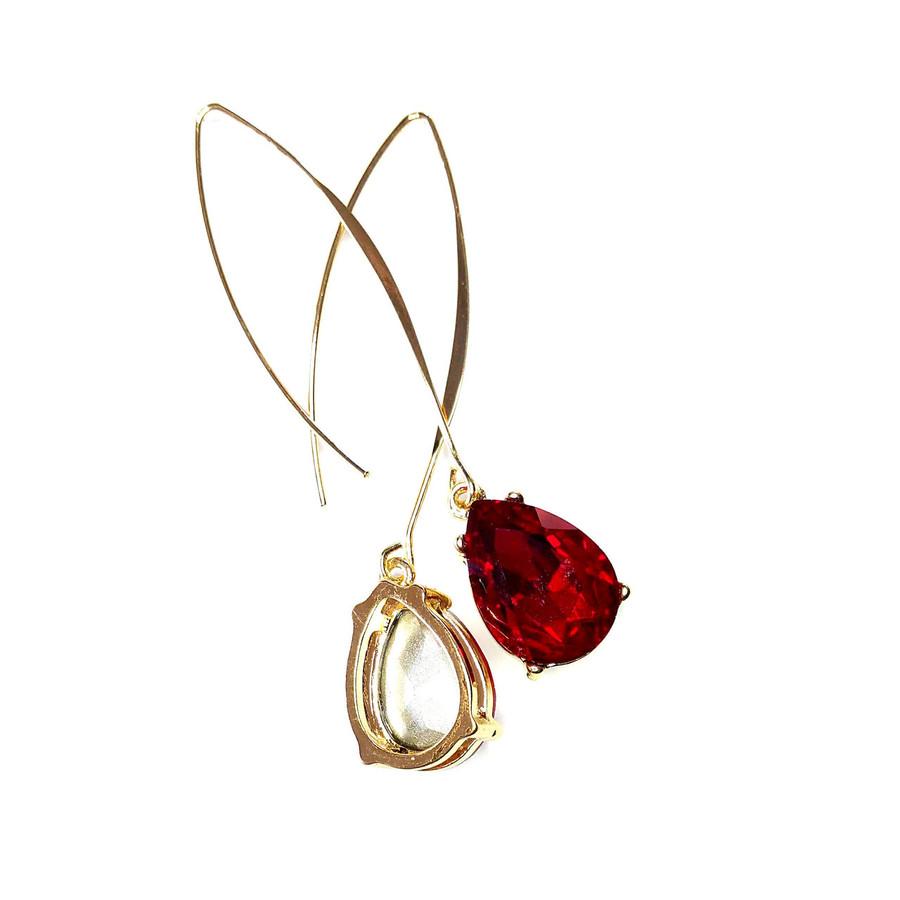 Gold and Red Teardrop Crystal Long Hook Drop Earrings