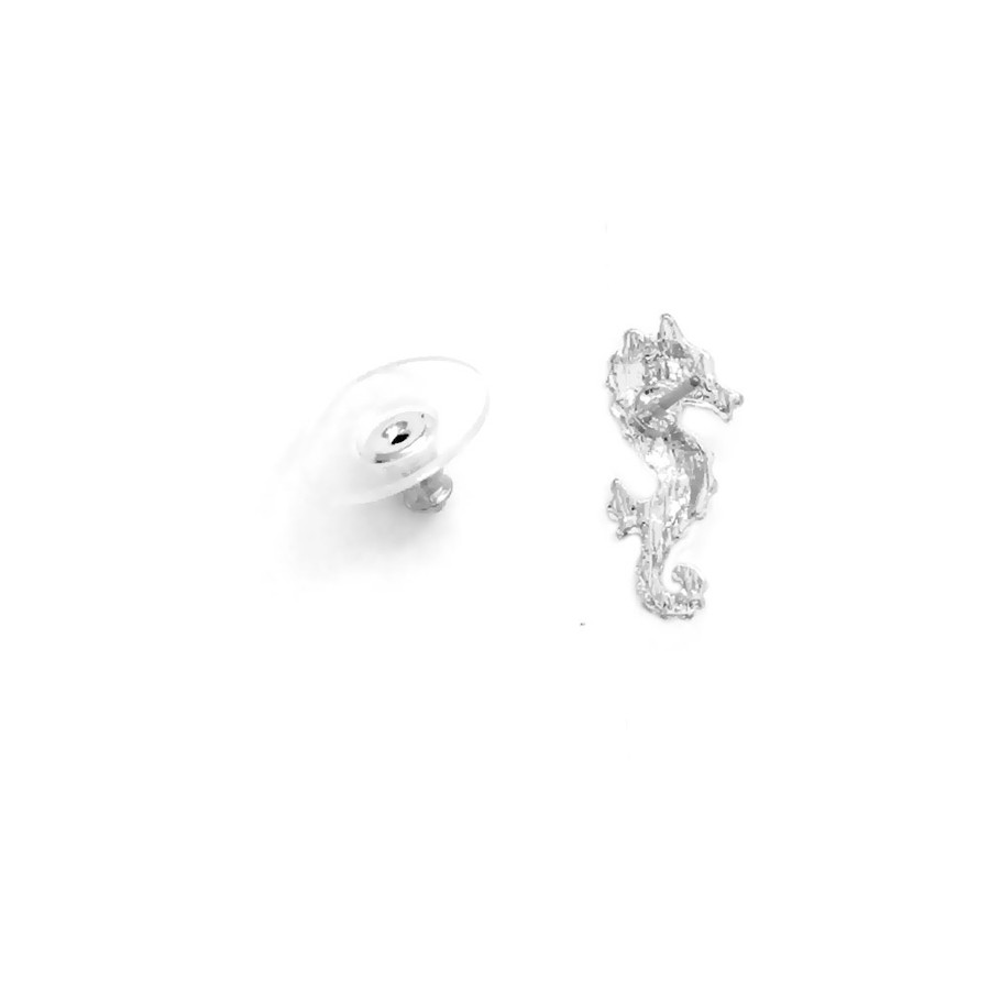 Tiny Silver Seahorse Post Earrings with Crystal Detail