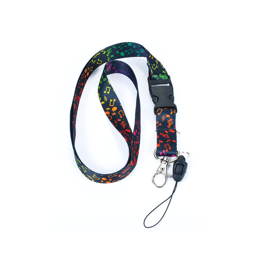 Black and Rainbow Fabric Musical Lanyard Necklace with Quick Release and 2 ID/Badge/Card Holders