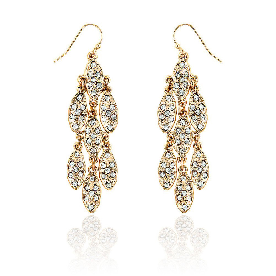 7x7 Golden Marquis Cluster Chandelier Earrings with Clear Crystals