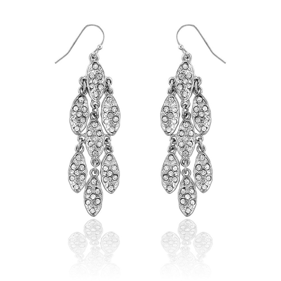 7x7 Silver Marquis Cluster Chandelier Earrings with Clear Crystals