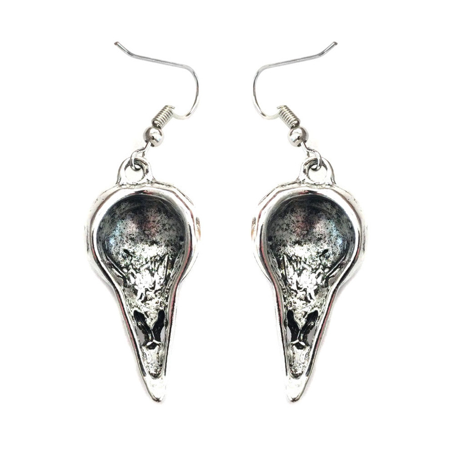Antiqued Silver Crow/Raven Skull Drop Earrings