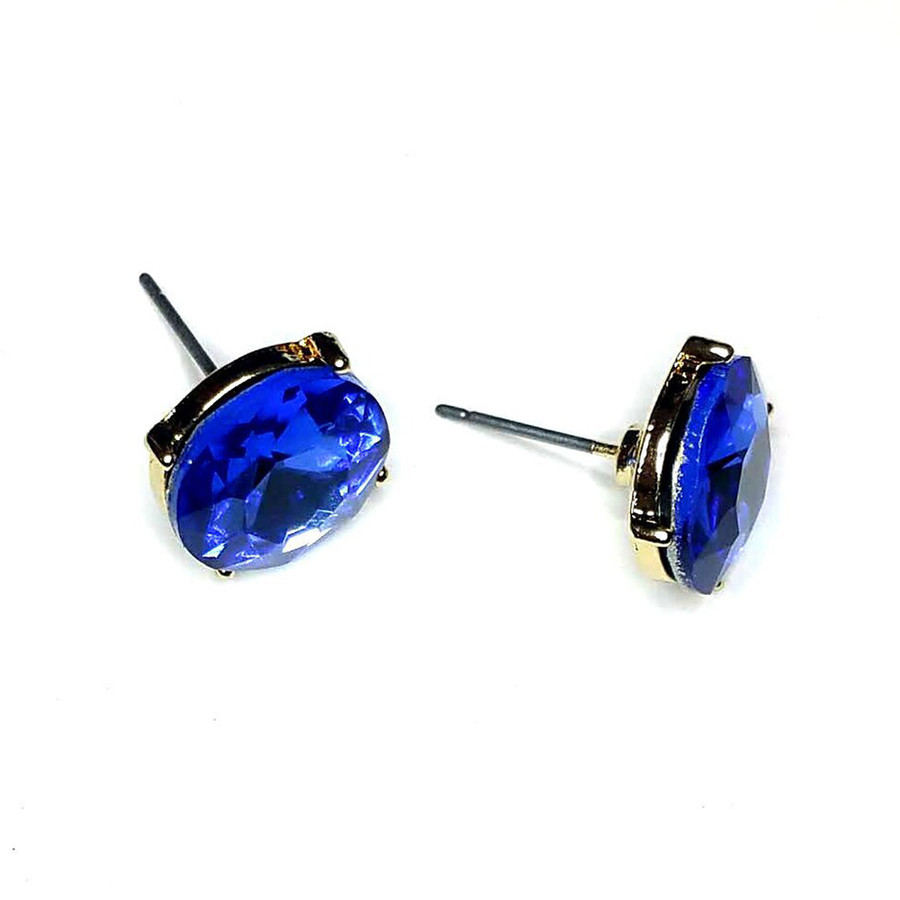 Sapphire Blue Solitaire Crystal Post Earrings