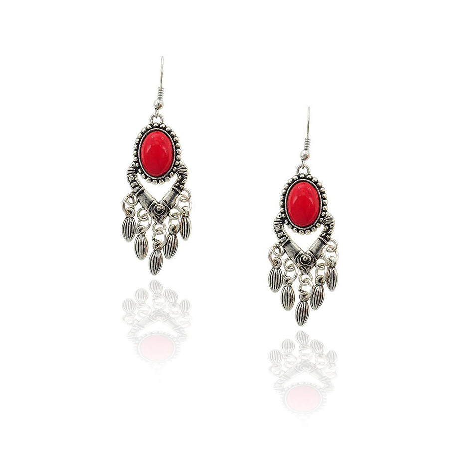 Antiqued Silver and Red Cabochon Chandelier Earrings