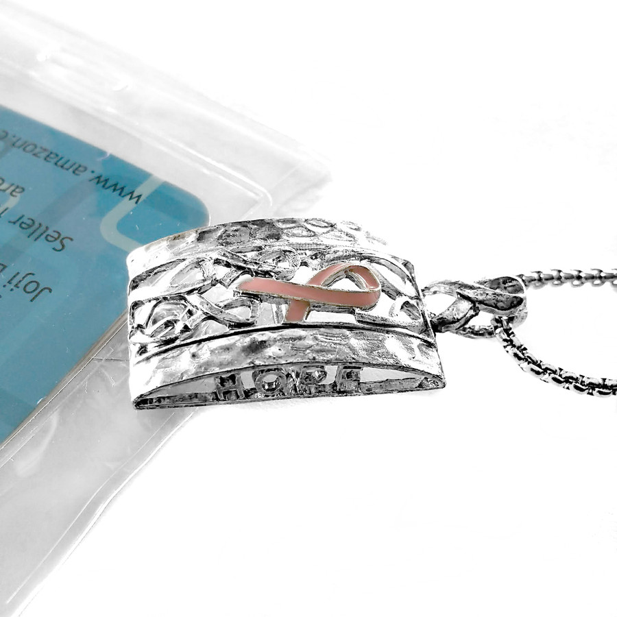 Antiqued Silver and Pink Enameled Ribbon: Lanyard Necklace with Id/Badge/Card Holder [Breast Cancer Awareness}
