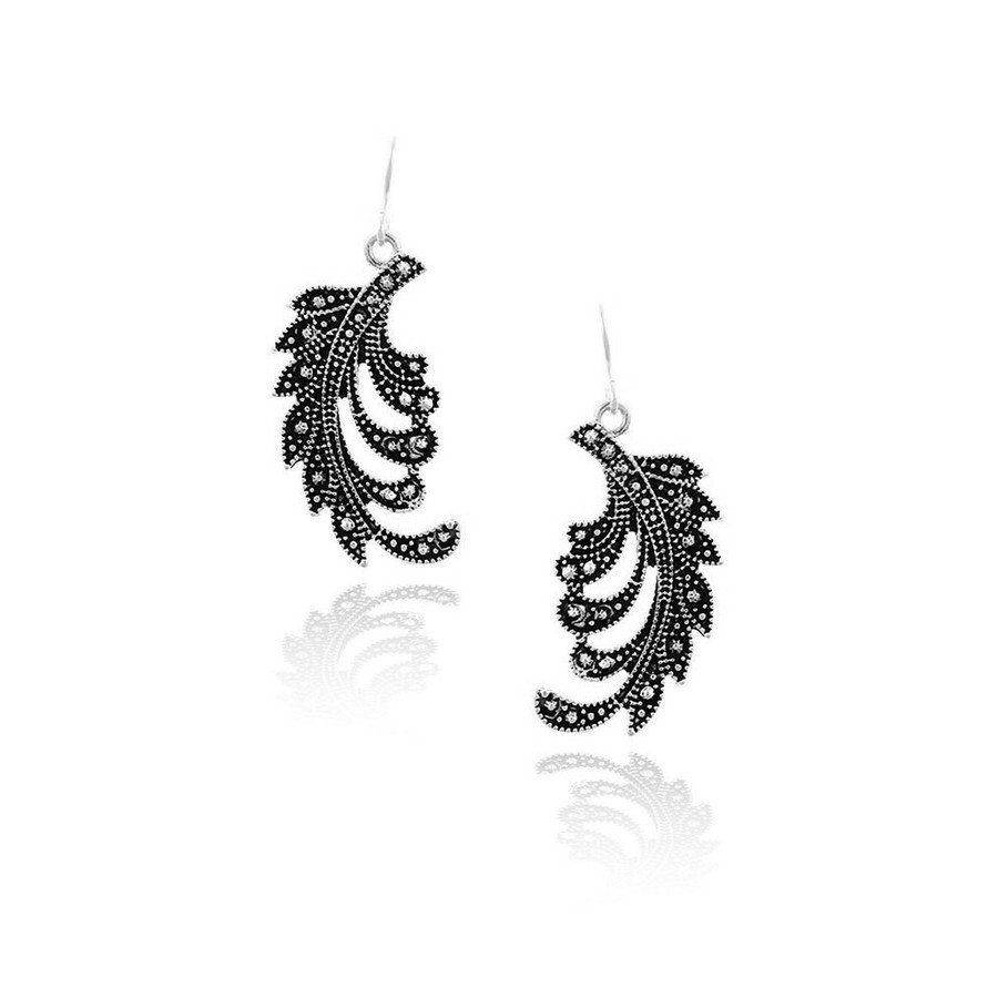 Antiqued Silver Stylized Feather Drop Earrings