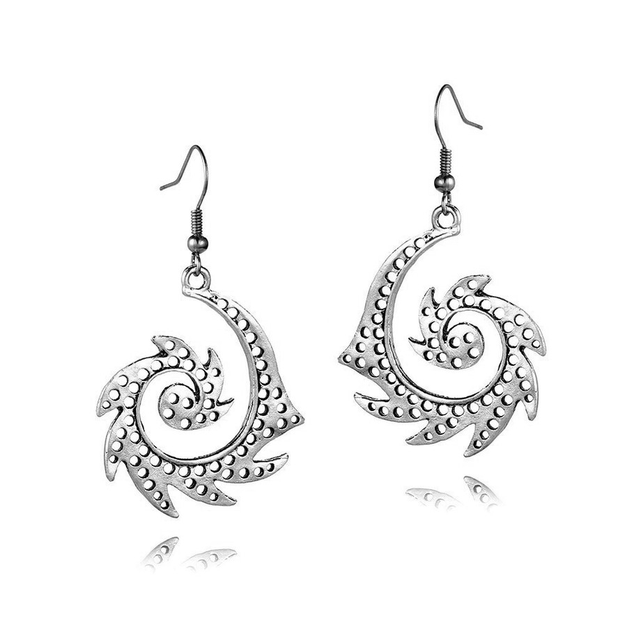 Antiqued Silver Tribal Spiral Drop Earrings