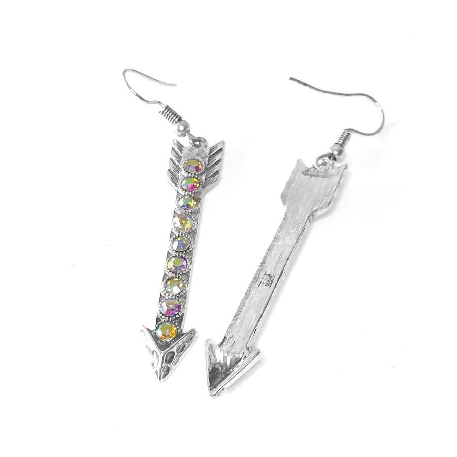 Silver Arrow Drop Earrings with Aurora Borealis Crystals