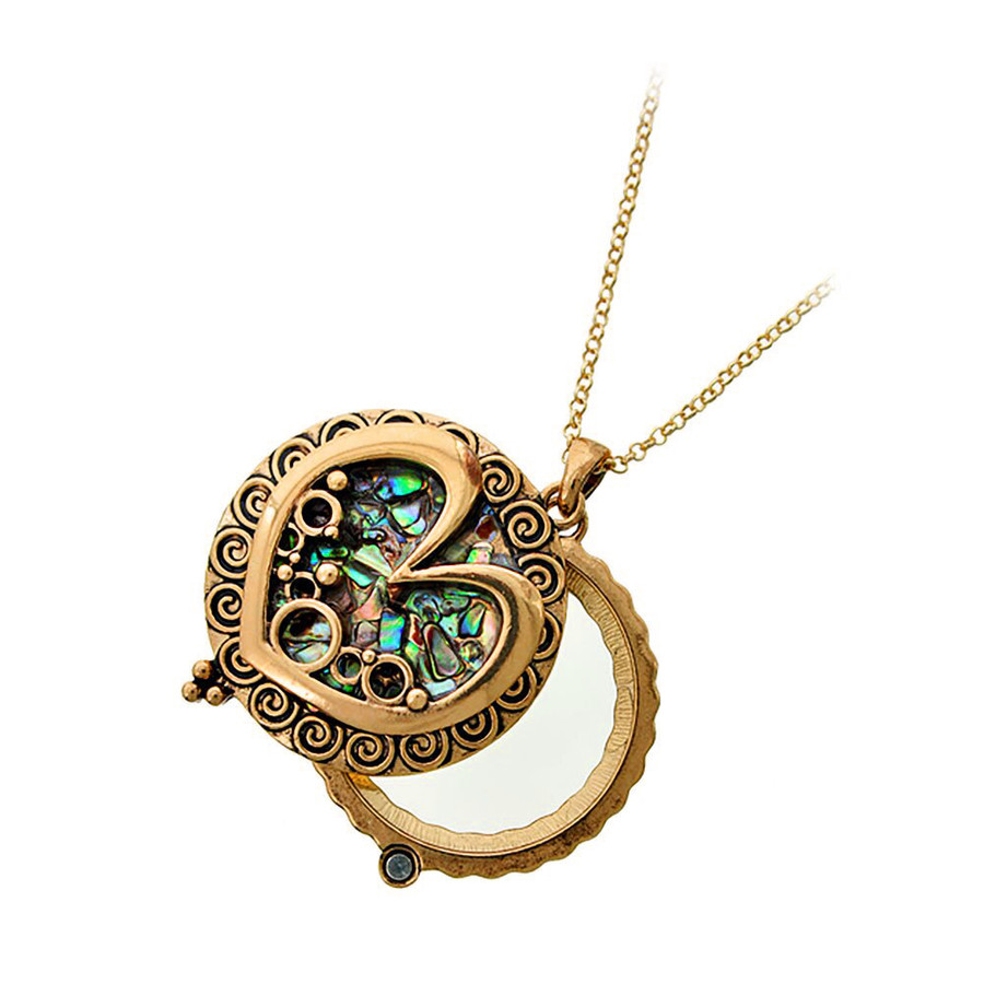 Antiqued Gold and Abalone Heart Magnifying Glass Necklace