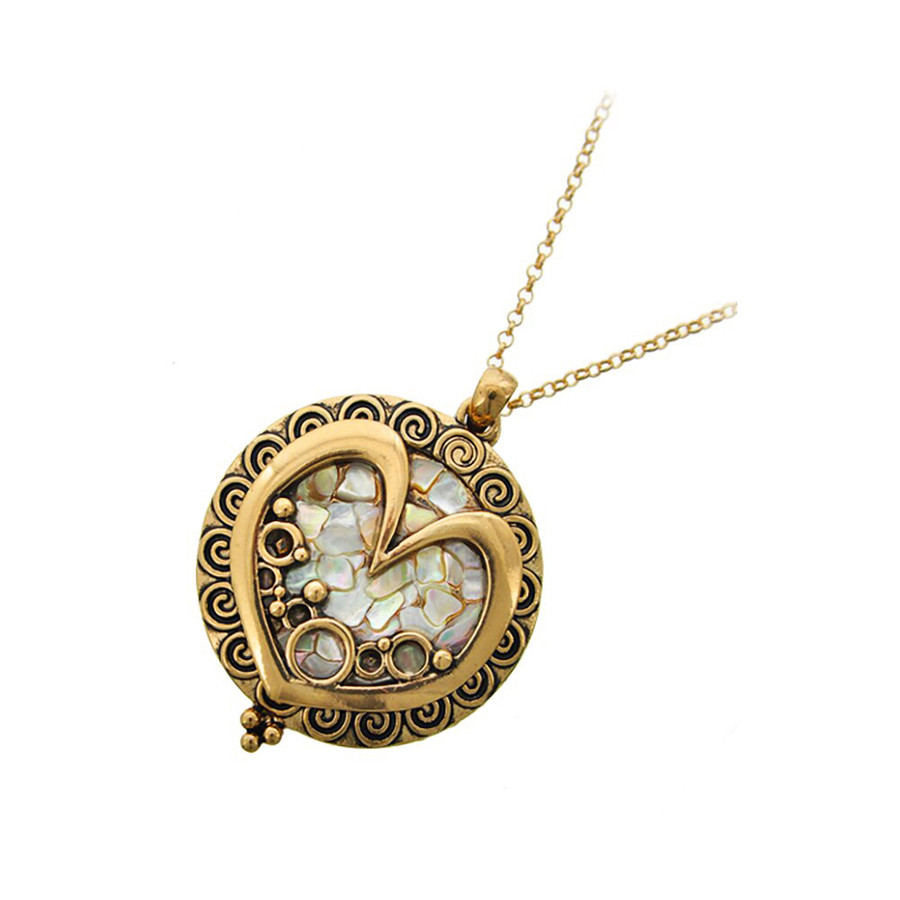 Antiqued Gold and Mother-Of-Pearl Heart Magnifying Glass Necklace